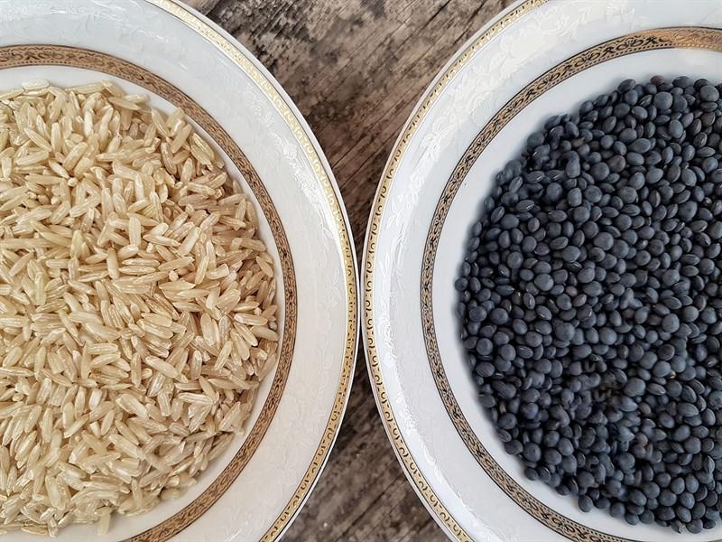 אורז מלא ועדשים שחורות מג'דרה בכלים חגיגיים